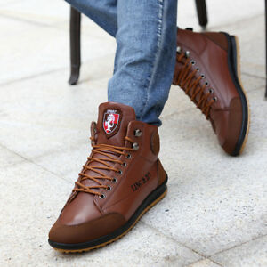 Men New Winter Warm Leather Waterproof Light Boots High top Lace Up Casual Shoes