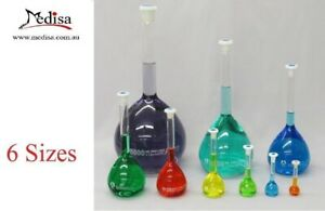 Volumetric Flasks Borosilicate Glass with Plastic Stopper and Graduation,6 Size