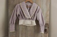 Antique Shirt Bodice or Blouse Victorian French woman's clothing purple cotton
