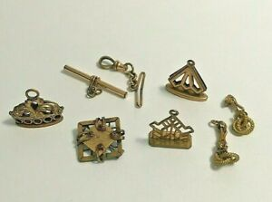 Antique Lot of Gold Filled Watch Fob Charm Pendant Pin Openwork Design 51.7g