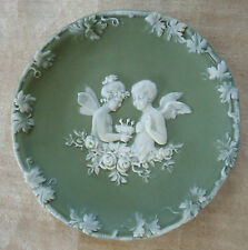 VINTAGE SCHAFER VATER GREEN GERMAN JASPERWARE PLAQUE PLATE FAIRY & ANGEL CHERUB