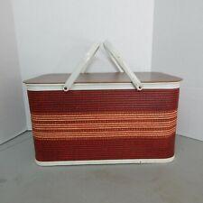 "Vintage 1950""s Redmon? Picnic Basket Wicker Wood Woven Red Metal Handles"