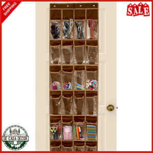 Hanging Shoe Organizer Over The Door 24 Pockets Crystal Clear Fabric Brown