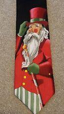 Christmas Holiday Winter Santa Claus Top Hat Suit Mens Neck Tie Black 100% Silk