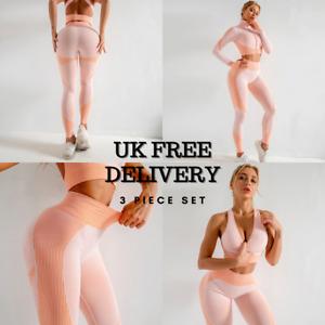 3 Pieces Gym Set Women Yoga Fitness Peach Pink Suit Sport Leggings Crop Top UK