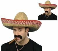Mexican Sombrero Adults Large Straw Bandit Hat One Size Costume Fancy Dress