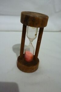 Small Wooden Sand Timer 3 Minutes With Pink Sand