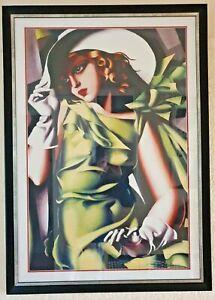 Girl In Green With Gloves by Tamara De Lempicka, Framed Print (108.5 x 77.5 cm)