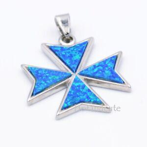 St John Malta MALTESE CROSS Solid Sterling Silver 925 Blue Opal Pendant n Box