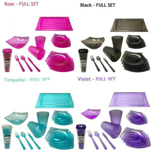 Reusable Tableware Dinner Set Plastic Dinnerware Picnic Party BBQ Camp Cutlery