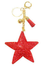 NEW KIRKS FOLLY SHINING PUFFY CRYSTAL STAR AND TASSEL KEY CHAIN RED  goldtone