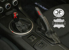 Puntada de Plata para Mazda MX5 MK3 2005-2012 Engranaje Polaina de freno de mano de cuero genuino