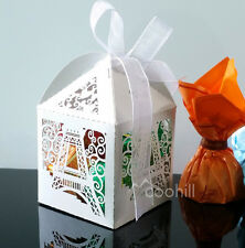 50x Laser Cut Eiffel Tower Candy Gift Boxes W/Ribbon Wedding Favors sweets Boxes