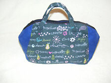 Pretty words Blue Fabric Handmade Top Handle Bag/Make up bag