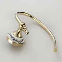 Luxury Gold Bathroom Polished Brass Towel Rack Hook Wall Mount Clothes Hanger