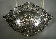 Antique German 800 Silver Cherub Floral Card Tray