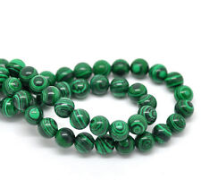 20Pcs Green Stripe Malachite Round Spacer Stone Beads Bracelet Findings DIY 8mm