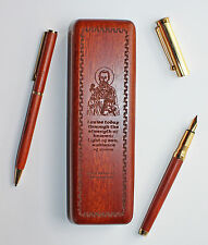 St Patrick (Ireland) engraved wooden pen set: rosewood box fountain ballpoint