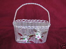 Silver Mail Basket With Hand Painted Porcelain Flowers