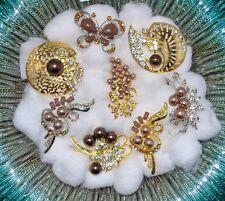 Wholesale Lot 8 Pcs  Vintage Style  Brooches Pins Brown  Bouquet yuri #43