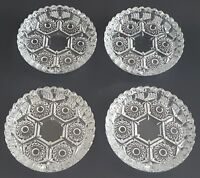 """Italian Cut Glass Individual Ashtray Set of Four Mid Century Clear Round 4 1/4"""""""