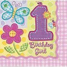 16 Hugs n stitches serviettes 1st Birthday girl party fun