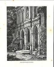 Stampa antica PADOVA scorcio della Villa Giustiniani 1876 Old print Engraving