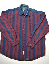 Vintage Baxter Mens Denim Button Up Shirt Size L Striped Blue Red Long Sleeve