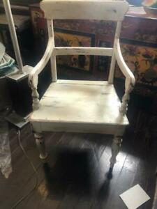 Antique Hand Painted French Country Oak Kitchen Arm Chair.