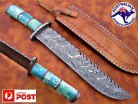 "1095 Damascus Steel Custom Handmade 16"" Bowie Bush Hunting Knife Camel Bone V34"