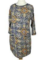 White Stuff Blue Cotton Floral Print Pockets Smock Tunic Top Dress Size 10 S