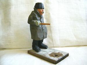 VTG Swedish OOAK Wood Hand Carving Gunnarsson Fishing Men Ice Angler Funny 1958