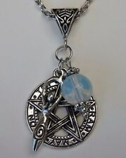 Antique Silver Pentagram/Fertility Goddess/Bead Wicca Pagan Pendant Necklace