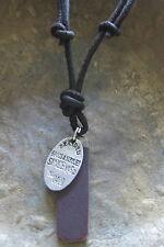 Münze Surferkette Herrenkette braun Lederkette Halskette Kette Männerkette neu
