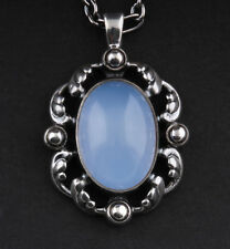 GEORG JENSEN argento sterling ciondolo di The Year 2018 WITH BLUE chalcedony.