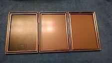 older Triple  Picture Frame  gold tone   non glare glass