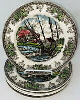 """5 Johnson Bros *FRIENDLY VILLAGE* 7 3/4"""" SALAD PLATES *WILLOW BY BROOK*"""