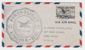 Liberia # C24 First Flight Cover to ME 1941 Surcharge Triangle Fauna Bird