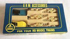 A H M Accessories HO Model Trains 6 Crossing Signals & Gates 2 Autos Vintage