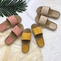 Women Slip On Sandals Slippers Flat Heel Plain Sliders Shoes Holiday Beach Comfy