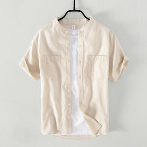 Cotton Linen Shirts Men Slim Short Sleeve Stand Collar Dress Shirt Clothes TS762