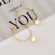 Boho Vintage Fashion Simple Large Circle Star Hoop Earrings Womens Jewelry Party