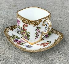 Dresden Germany Miniature Cup & Saucer Set With Gold And Flowers