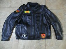 VTG Harley Davidson FXRG Black Leather Motorcycle Jacket 2XL With marine patches