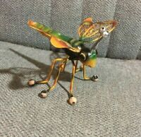 "Dragonfly Figure Metal Model Whimsical 5"" X 7"" Shelf Sitter Green Gold"