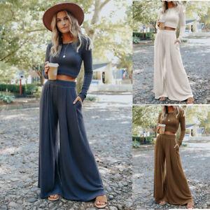 Womens Casual Long Sleeve Crop Tops Loose Wide Leg Pants Suit Bohemian Style Set