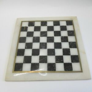 Chess Board Marble 25x24.5cm Unbranded (Board Only) Black/White Gold Tone Trim