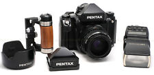 PENTAX 67II CAMERA KIT USED w/ 75MM F/2.8, TTL PRISM, WOOD HOTSHOE GRIP & FLASH
