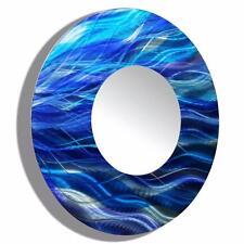 Metal Wall Mirror Art Modern Abstract Blue Decor Signed Original Jon Allen