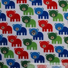 BonEful Fabric Cotton Quilt White Blue Red Green Baby Boy BEAR Stripe Dot SCRAP